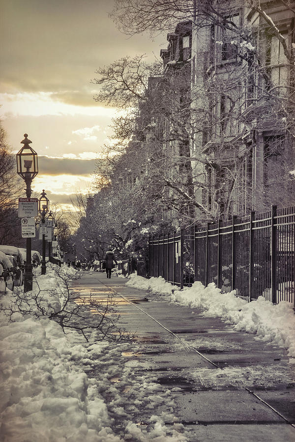 Vintage Boston Photograph - Winter In Back Bay Boston by Joann Vitali