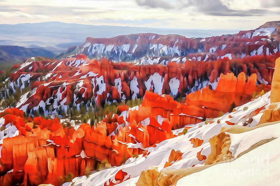 Winter in Bryce Canyon - Photopainting by Bob Lentz