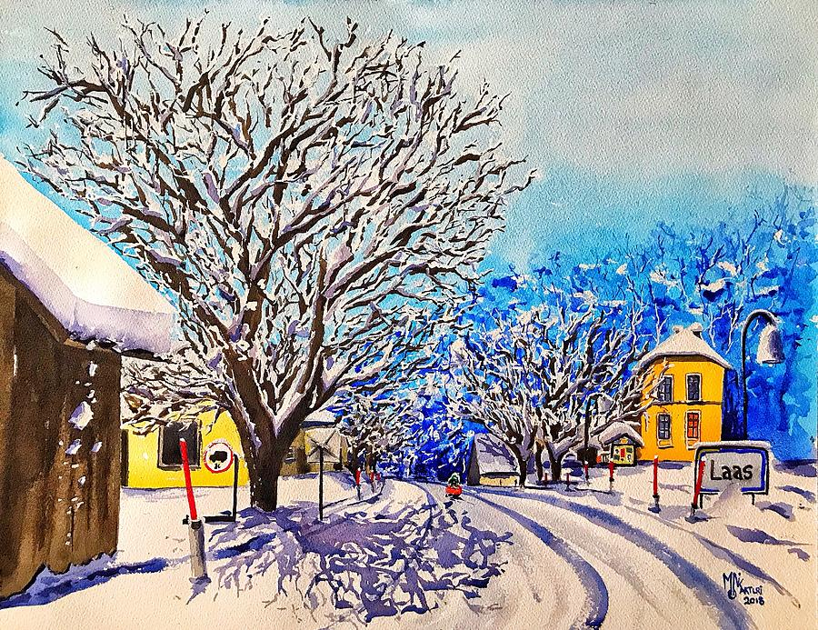 Watercolor Painting - Winter in Laas by Monika Arturi