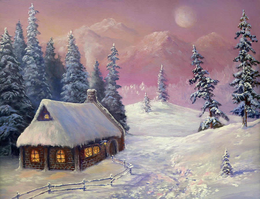 Winter In The Mountains Digital Art by Pobytov
