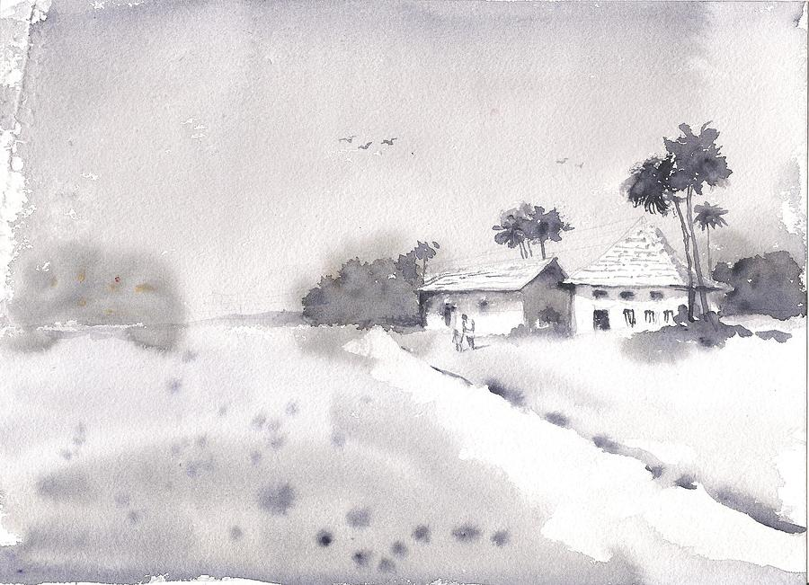 Winter landscape by Asha Sudhaker Shenoy