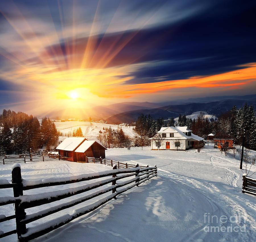 Forest Photograph - Winter Landscape. Mountain Village In by Kotenko Oleksandr