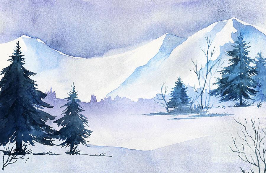 Forest Digital Art - Winter Landscape. Watercolor Landscape by Alexgreenart