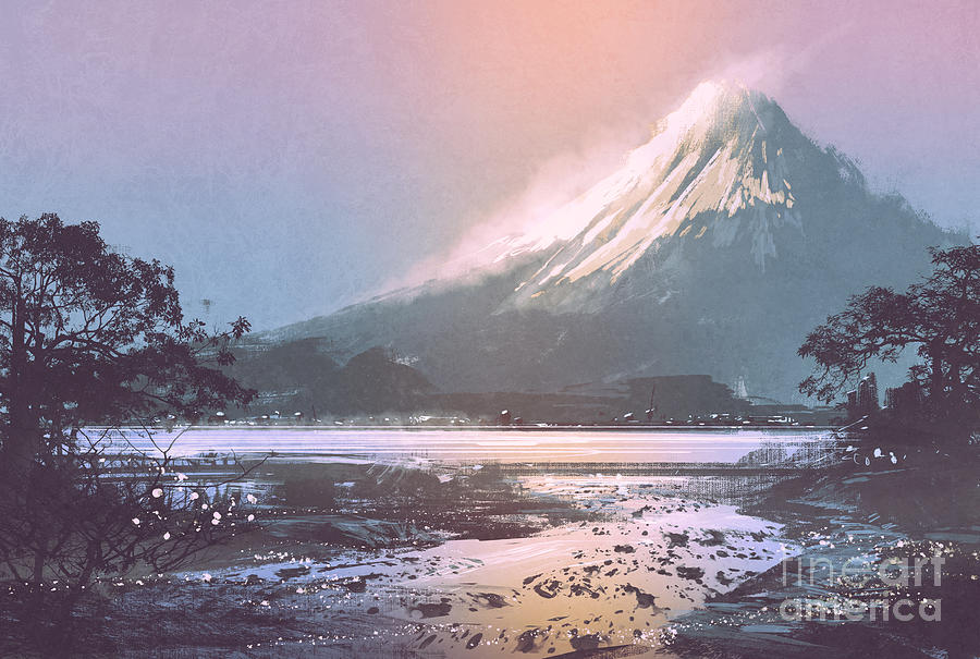Country Digital Art - Winter Landscape With Mountain Lake by Tithi Luadthong