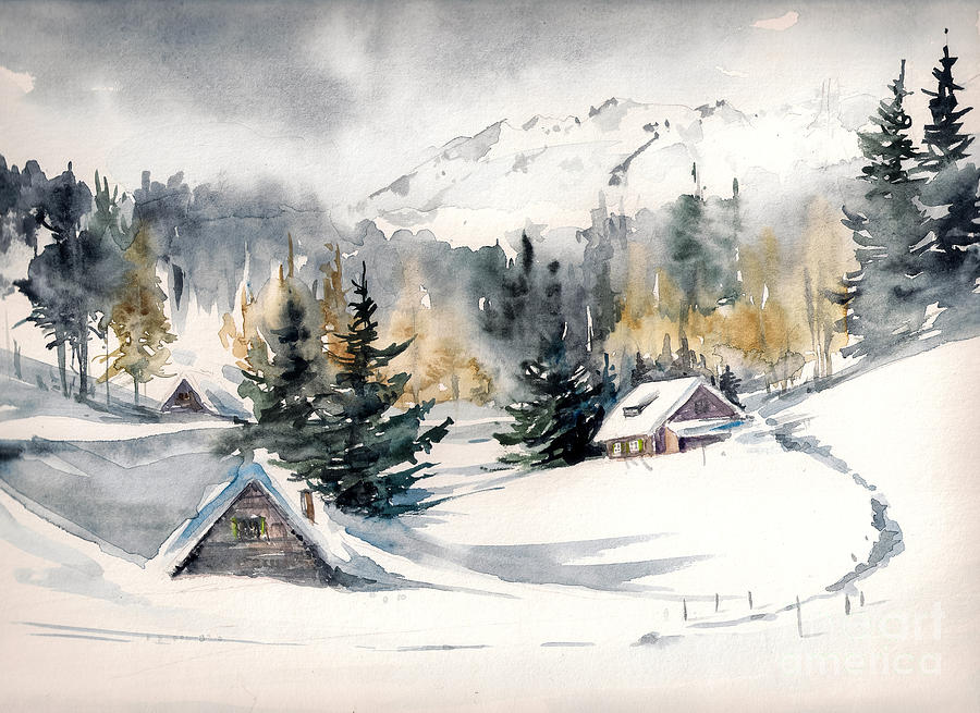 Alps Digital Art - Winter Landscape With Mountain Village by Deepgreen