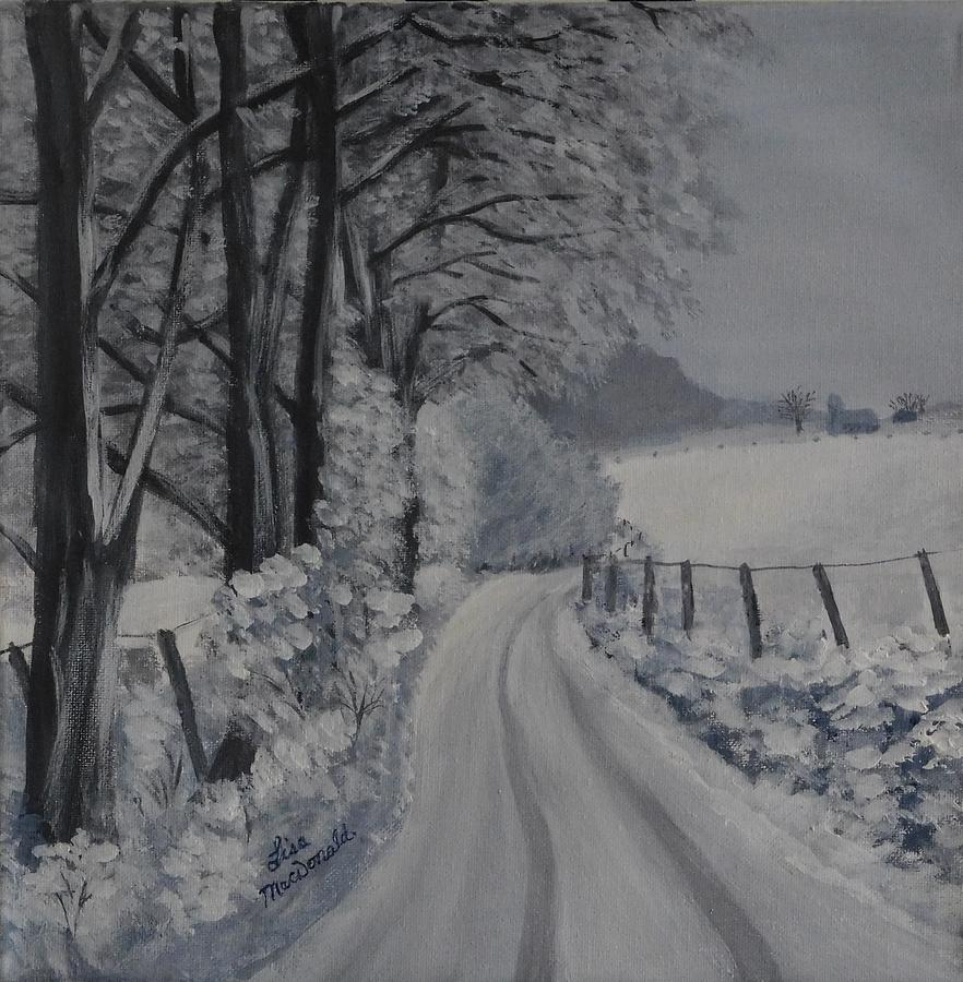 Landscape Painting - Winter Lane by Lisa MacDonald