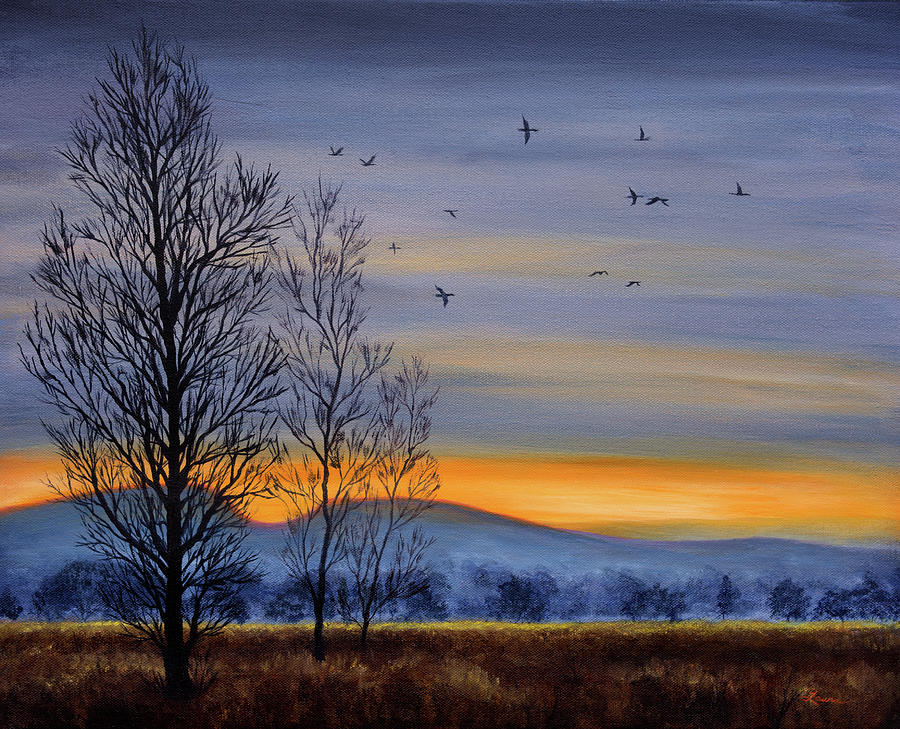 Winter Light over a Meadow by Laura Iverson