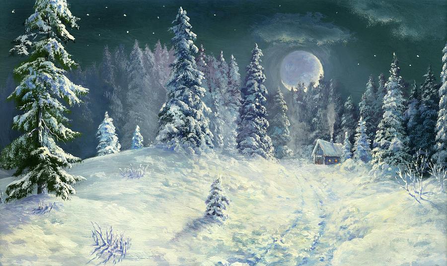 Winter Night Forest Digital Art by Pobytov