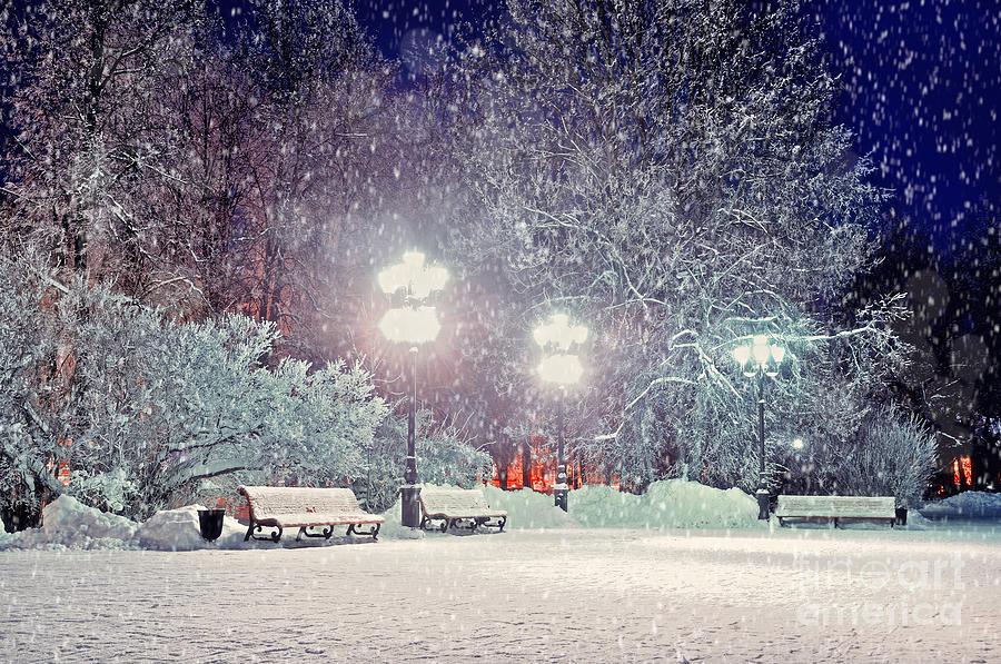 Mood Photograph - Winter Night Landscape -  Evening In by Marina Zezelina