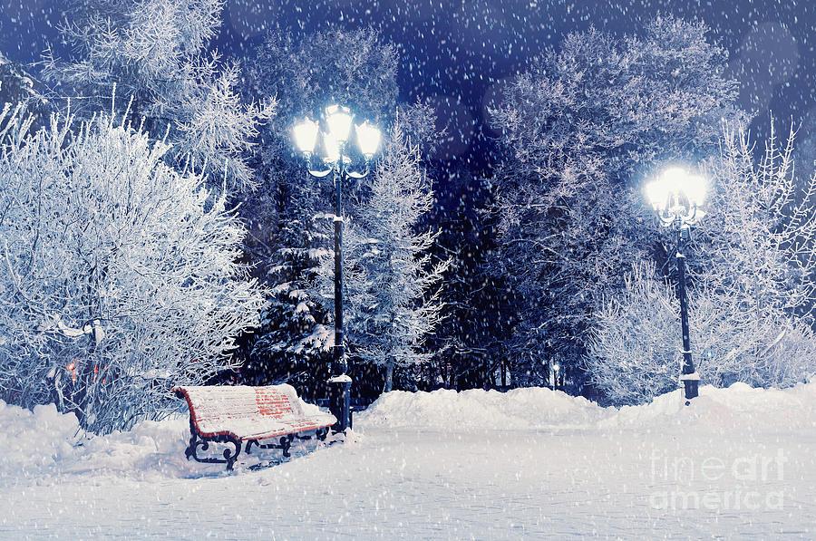 Mood Photograph - Winter Night Landscape Scene Of Snow by Marina Zezelina