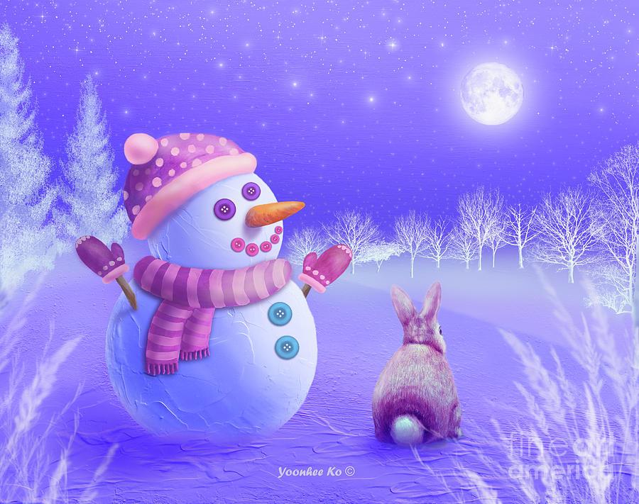 Snowman Painting - Winter Night Moon Watching by Yoonhee Ko