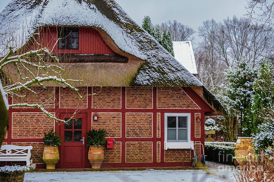 Winter old house in suburb by Marina Usmanskaya