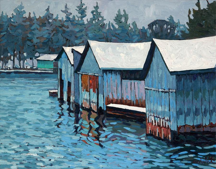 Winter Outlet Boat Houses by Phil Chadwick