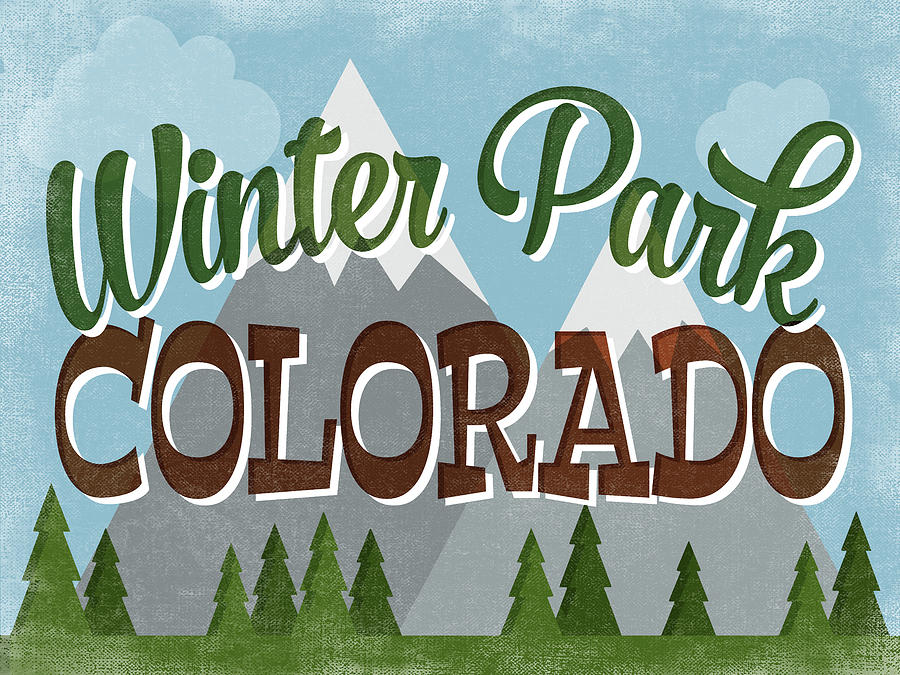 Winter Park Digital Art - Winter Park Colorado Retro Mountains by Flo Karp