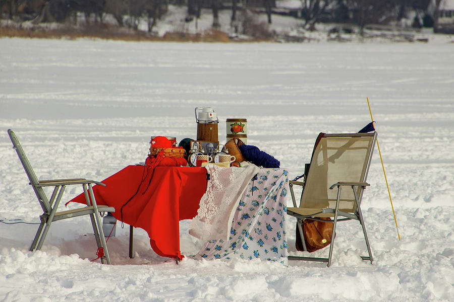 Picnic Photograph - Winter Picnic on a Frozen Lake by Laura Smith