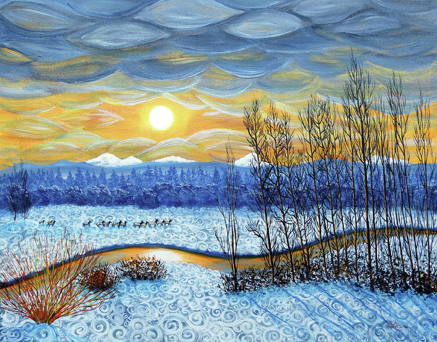 Winter River in Sunset by Laura Iverson