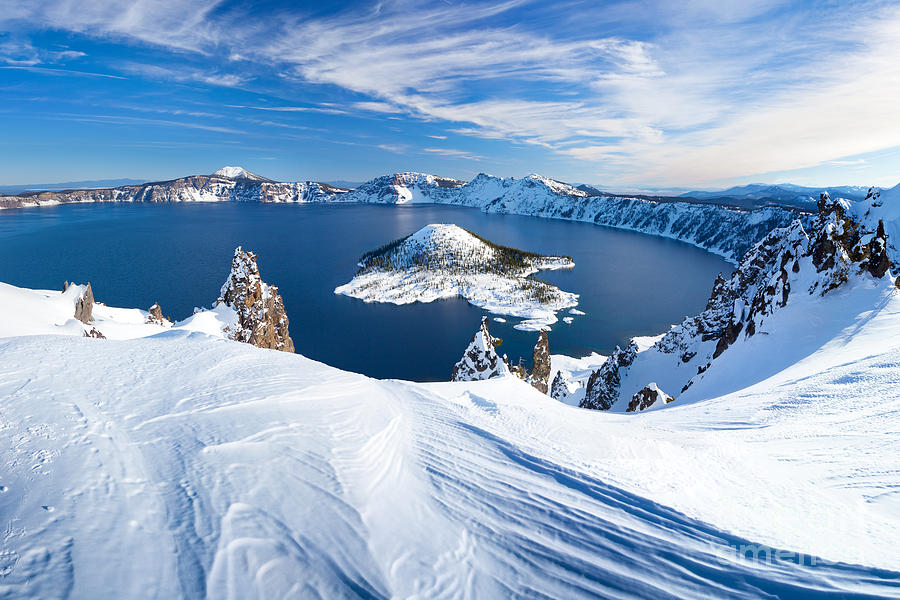 Cliffs Photograph - Winter Scene At Crater Lake Volcano by Matthew Connolly