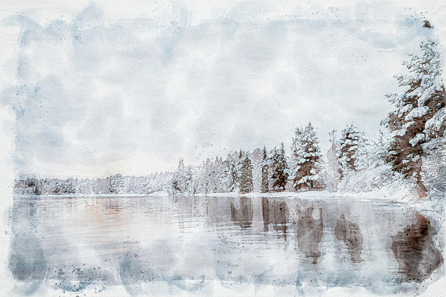 Winter scene by the river Digital art   by Edita Edith Anna Brus