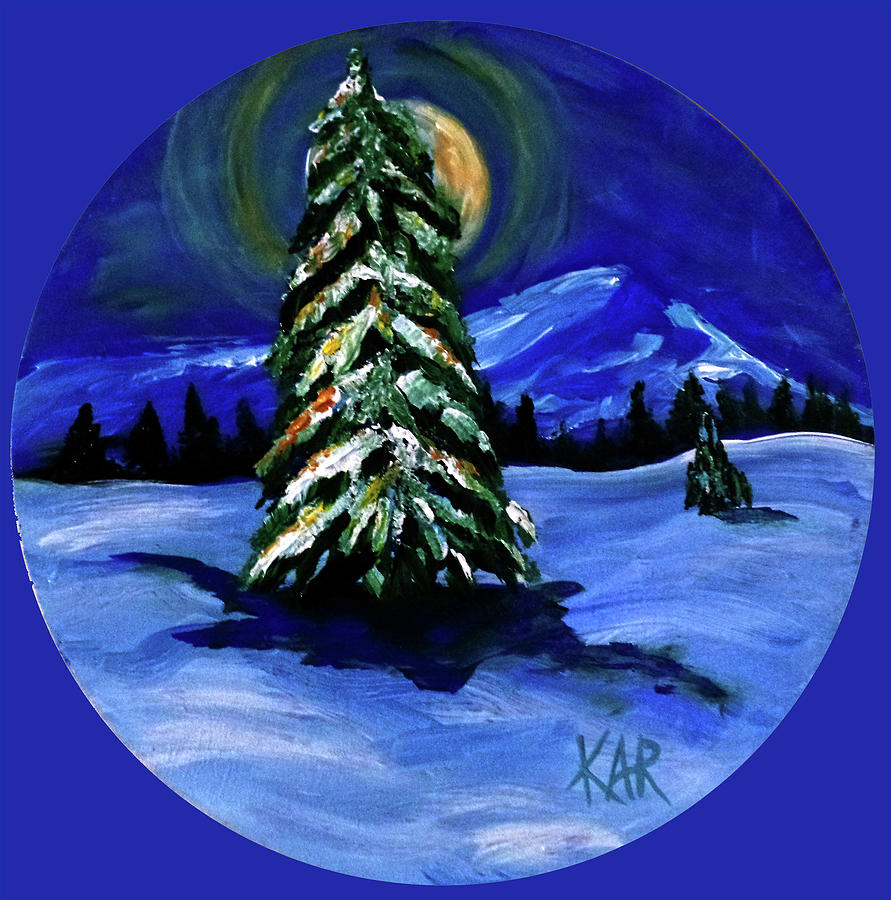 Tree Painting - Winter Scene On Round by Art by Kar