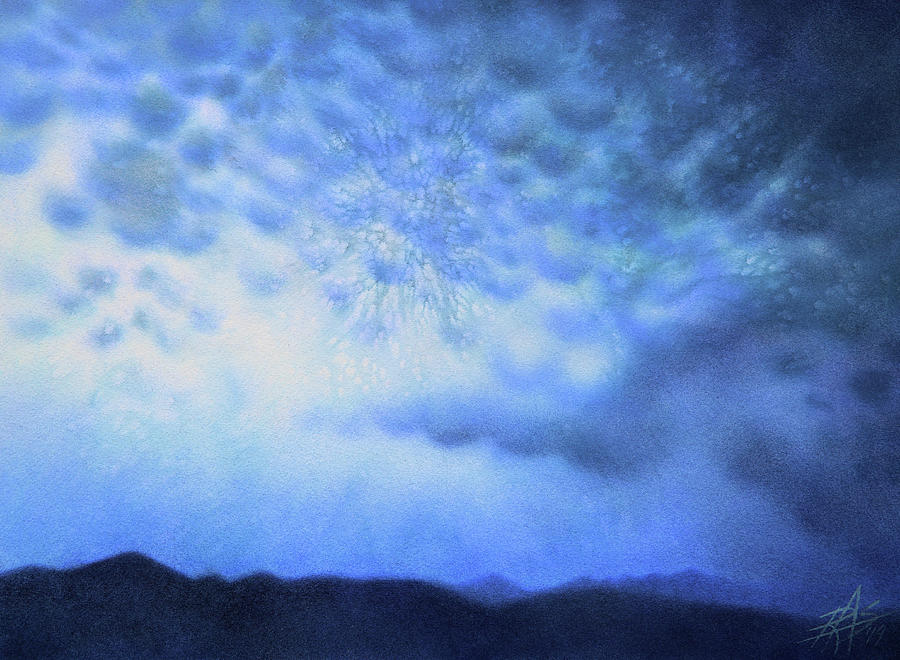 Landscape Painting - Winter Storm Or Mammatus Clouds Over Black Mountain by Robin Street-Morris