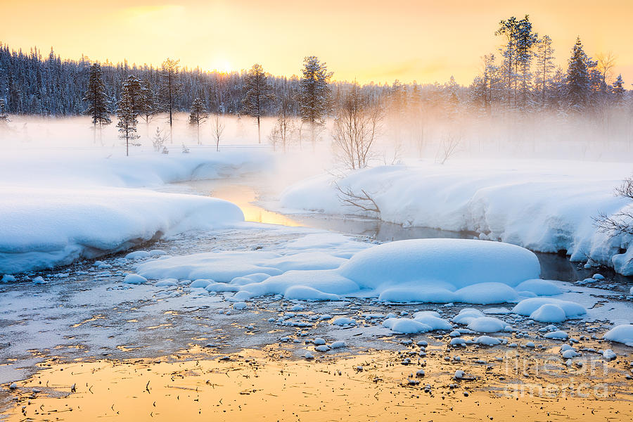 Country Photograph - Winter Sundown In Forest And River With by Taiga