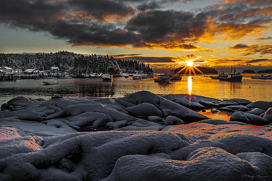 Winter Sunrise at Cutler Harbor Maine by Marty Saccone