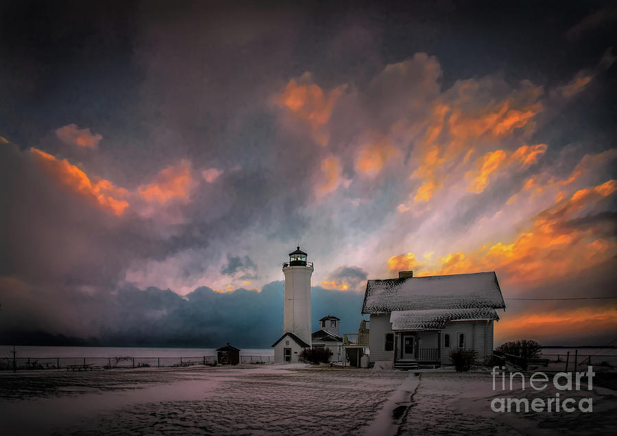 Winter Sunset at Tibbett's Point by Roger Monahan