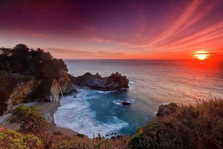 Winter Sunset, Mcway Falls Photograph by Don Smith