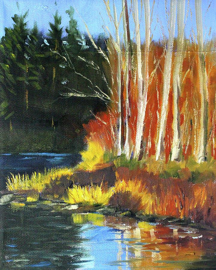 Oil Painting Painting - Winter Sunshine Landscape by Nancy Merkle