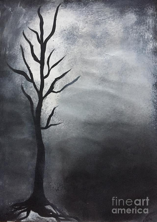 Deciduous Painting - Winter Tree At Night.  by C R