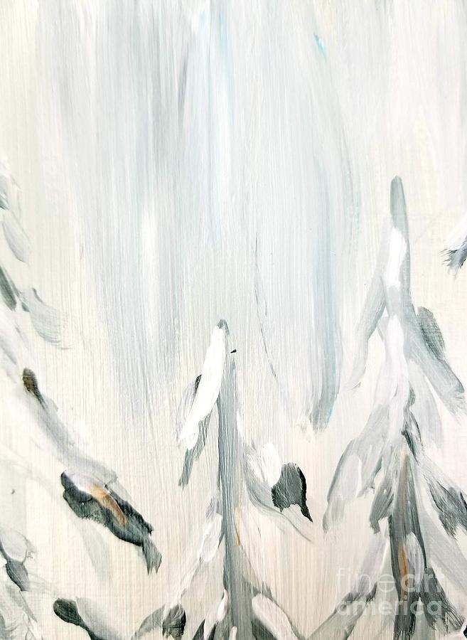 Winter Painting - Winter Trees And Sky by Maria Langgle