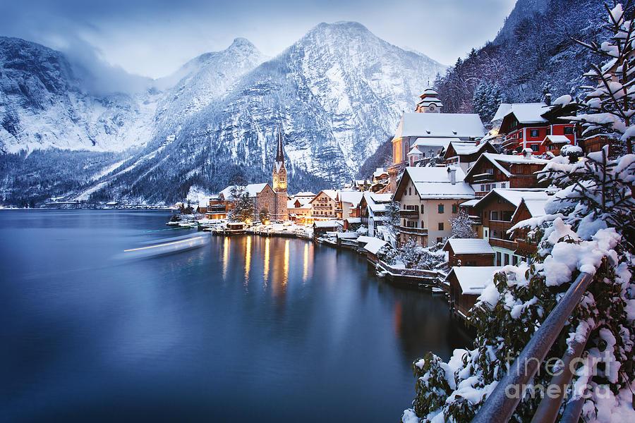 Beautiful Photograph - Winter View Of Hallstatt, Traditional by Dzerkach Viktar