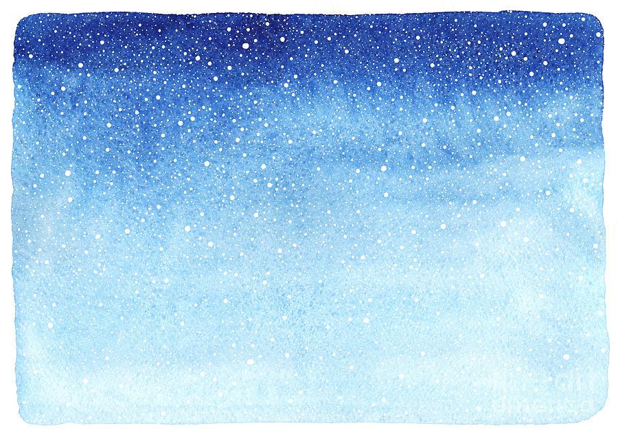 Blot Digital Art - Winter Watercolor Horizontal Gradient by Rolau Elena
