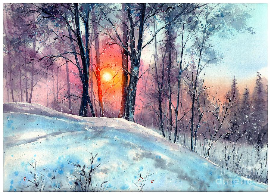 Village Painting - Winter Woodland In The Sun by Suzann Sines