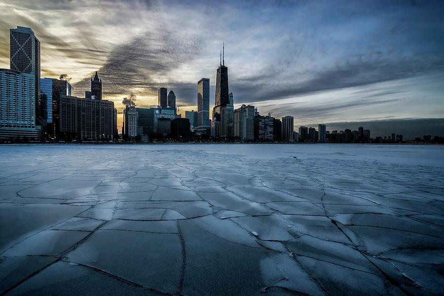 Wintry dusk scene on Chicago's lakefront  by Sven Brogren