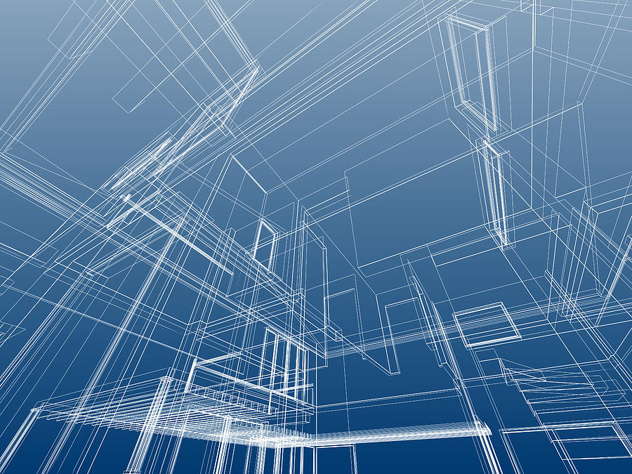 Wire Frame Architectural Background Photograph by Deliormanli