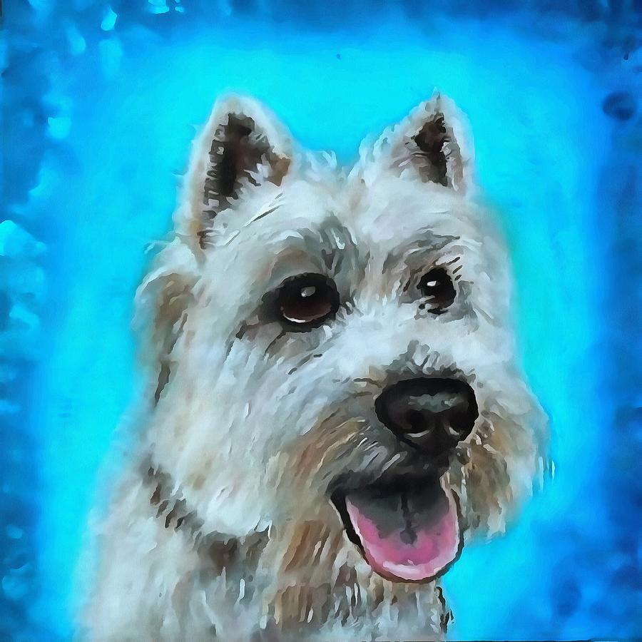 Wiry Haired White Terrier Portrait Painting By Taiche Acrylic Art