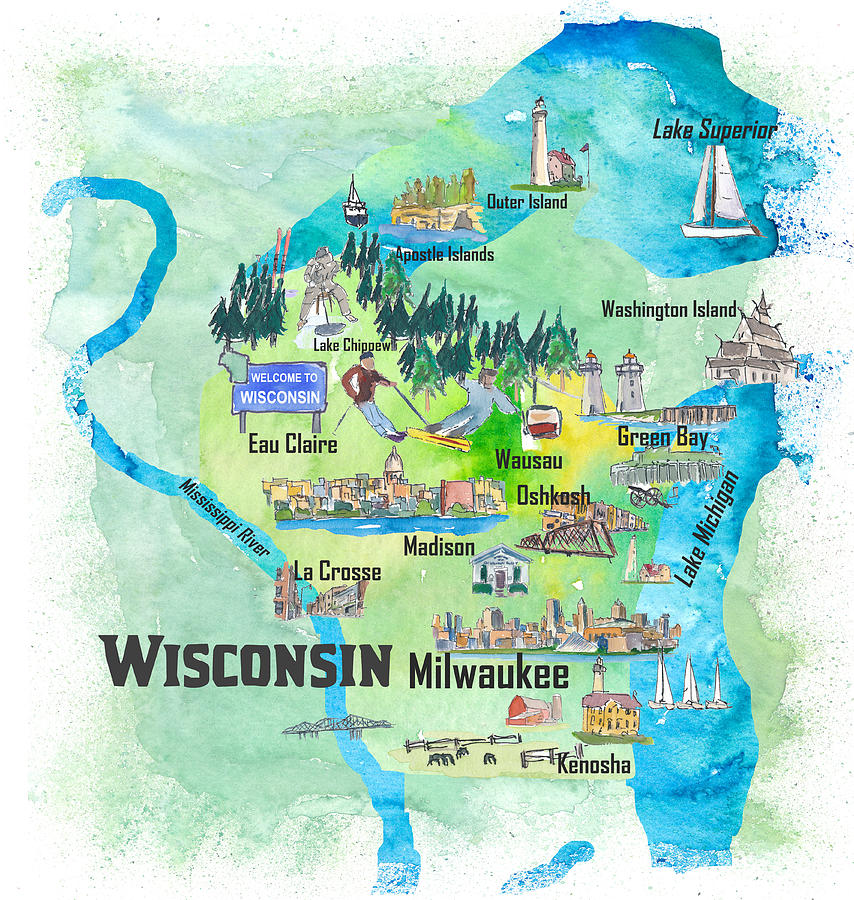 Wisconsin Usa State Illustrated Travel Poster Favorite Tourist Map by M  Bleichner