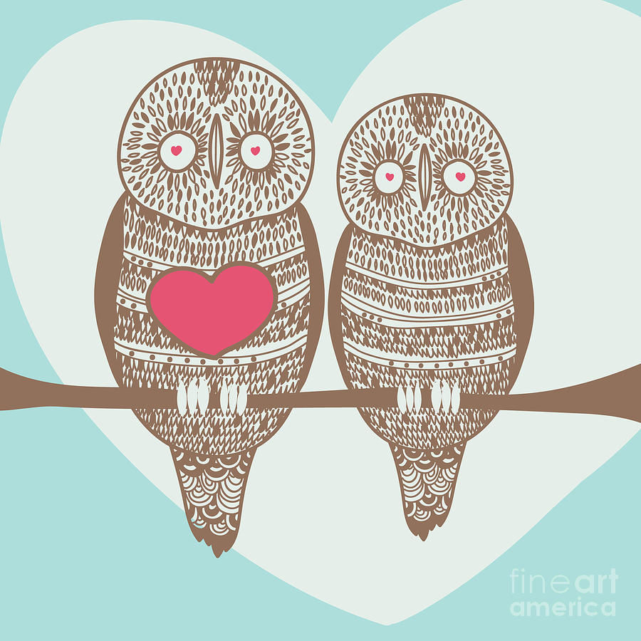 Birthday Digital Art - Wise Owl Couple On Tree Branch Under by Stopitnow