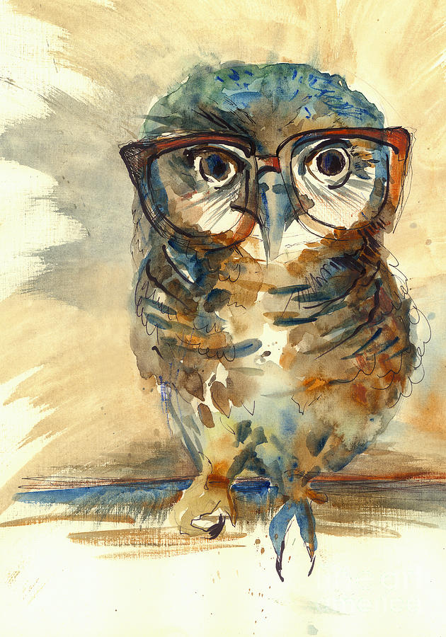 Big Digital Art - Wise Owl With Big Eyes In Hipster by Marianna fedorova