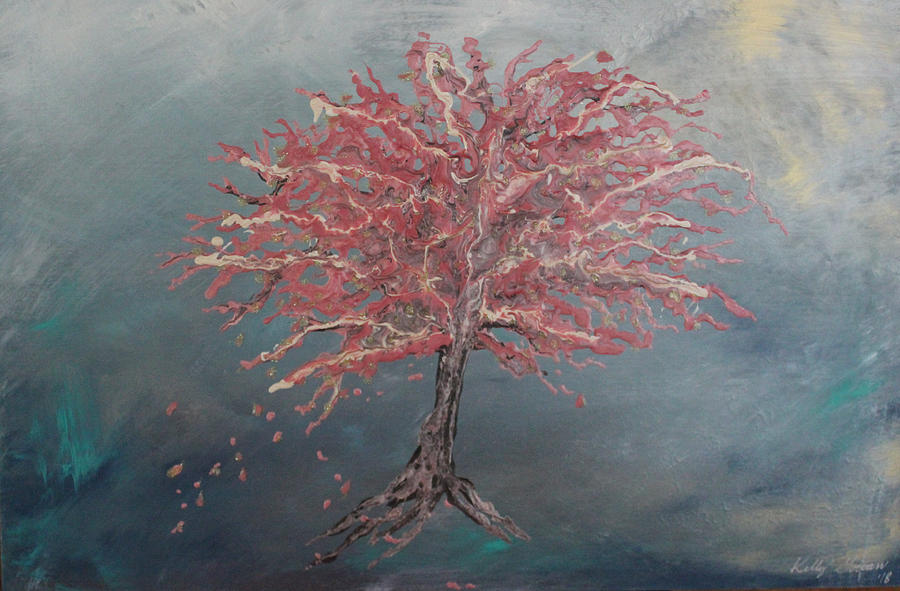 Wishful Japanese Cherry Blossom Tree Painting by Kelly Gowan