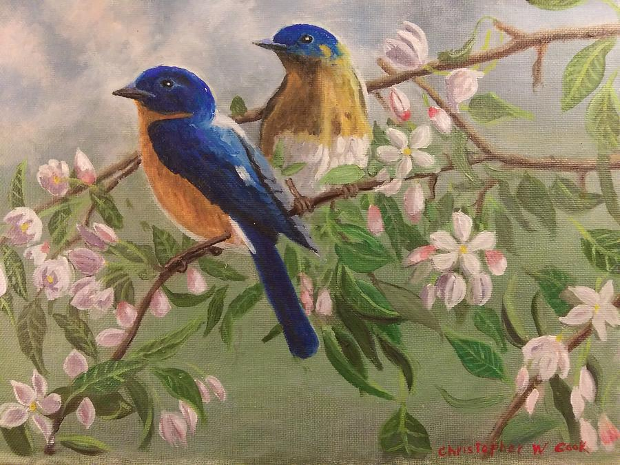 Wishing You Bluebirds Eastern Bluebird Painting By Christopher W Cook