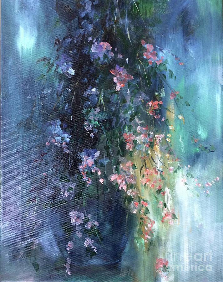 The Blues. With Love And Affection, A Gift Of Flowers, From The Heart. Painting