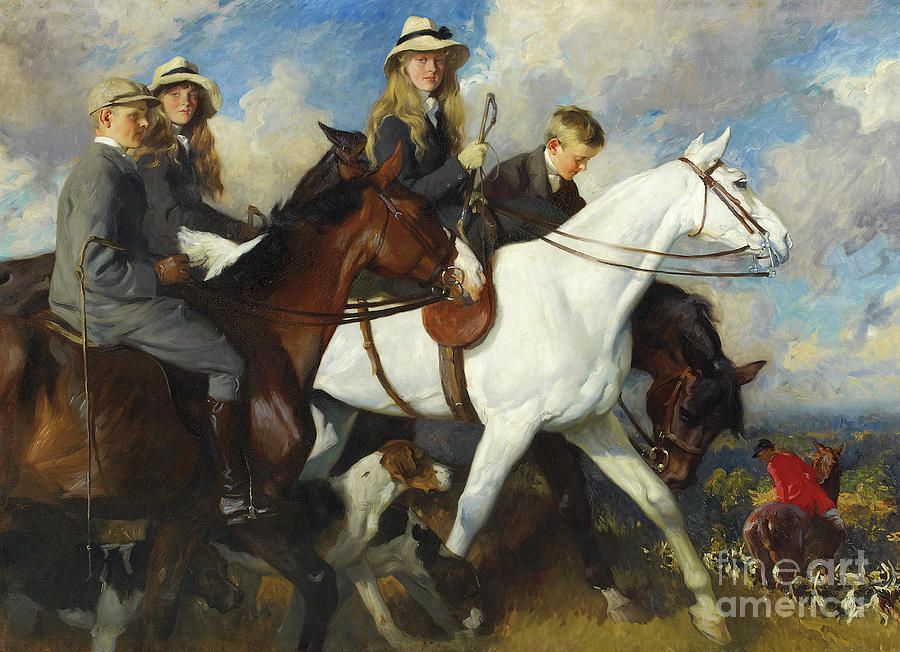 Hunt Painting - With The York And Ainsty, The Children Of Mr Edward Lycett Green by Charles Wellington Furse