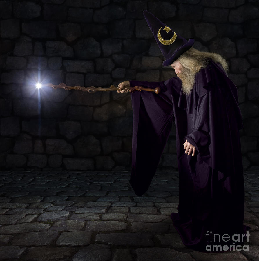 Magic Photograph - Wizard In A Purple Robe And Wizard Hat by James Steidl
