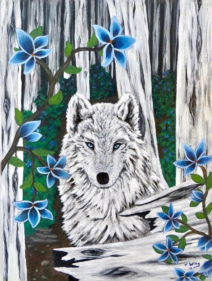 Wolf in the woods by Teresa Wing