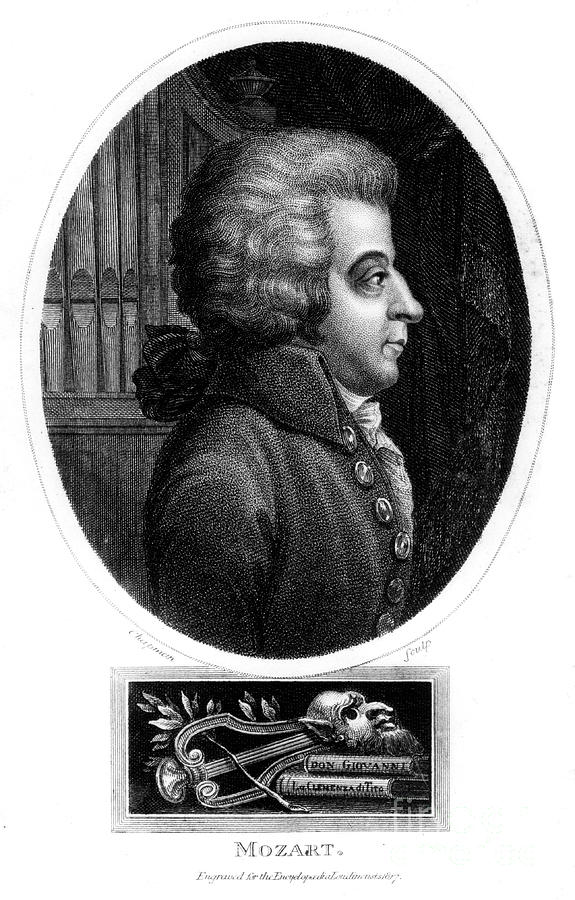 Wolfgang Amadeus Mozart, 18th Century Drawing by Print Collector
