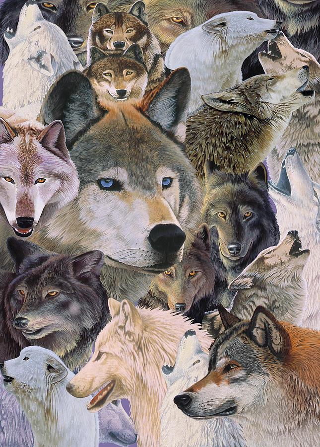 Animals Painting - Wolves Alive by Graeme Stevenson