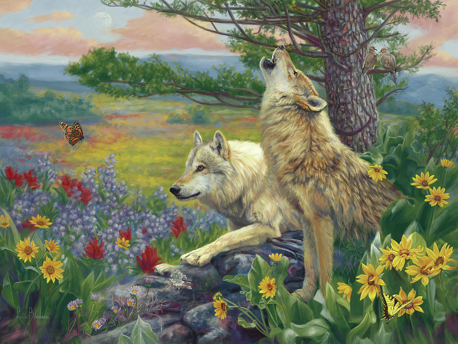 Wolf Painting - Wolves In The Spring by Lucie Bilodeau