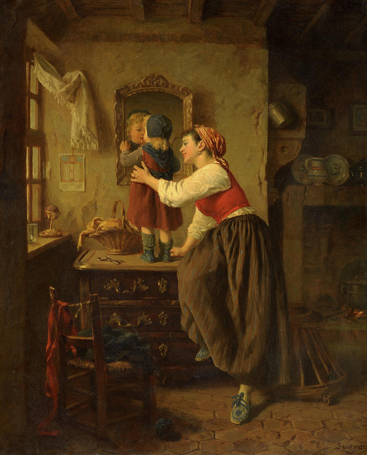 Seignac Painting - Woman And Child Before A Mirror, 1870 by Paul Seignac